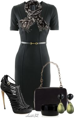 All black with hints of color make this professional business attire work. My suggestion to this outfit would be a  close toe pump with the apporiate heel for the office.