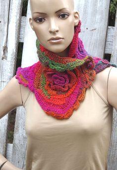Crochet  scarf  Freeform crochet 3D freeform crochet  di Degra2
