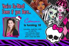 Monster High Party Invitations  Pink, Purple, and blue!