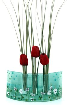 Fused glass Curved vase dwvided to three vases in by virtulyglass, $40.00