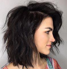 Medium Side-Parted Brunette Shag