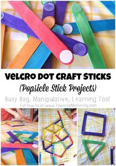 Dot Craft Sticks (Popsicle Stick Projects) Velcro Dot Craft Sticks Popsicle Stick Projects - kids love to make free shapes and color match!Velcro Dot Craft Sticks Popsicle Stick Projects - kids love to make free shapes and color match! Motor Activities, Infant Activities, Preschool Activities, Quiet Time Activities, Toddler Fun, Toddler Crafts, Craft Stick Crafts, Craft Sticks, Popsicle Stick Crafts For Kids
