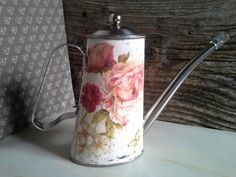 Decoupage watering can, metal watering can, floral gift, floral watering can, handmade watering, OOAK , home decor, shabby chic style