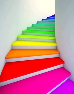 12 Ideas To Spice Up Your Stairs - Stairway to heaven - Rainbow Taste The Rainbow, Over The Rainbow, Neon Rainbow, Rainbow Stuff, Rainbow Things, Rainbow Art, Rainbow House, Rainbow Colors In Order, Rainbow Candy