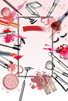 Cosmetics and fashion background with make up artist objects: lipstick, mascara ,eyeliner, nail polish, perfume. With place for your text . Makeup Backgrounds, Makeup Wallpapers, Colorful Backgrounds, Makeup Drawing, Makeup Art, Beauty Makeup, Fashion Background, Beauty Background, Homescreen Wallpaper