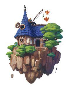 PlayStation Home soon to be killed off. Kunst Inspo, Art Inspo, Fantasy Kunst, Fantasy Art, Fantasy House, Art And Illustration, Isometric Art, Arte Sketchbook, Game Concept Art