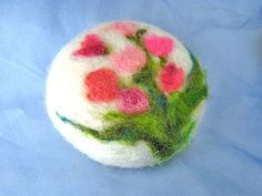 Felted Soap  Pink Tulips  Wool Fiber Art  Decorative by sweetnola
