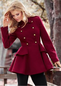Venus Peplum Coat In Burgundy $89  http://www.venus.com/viewproduct.aspx?ProductDisplayID=20536