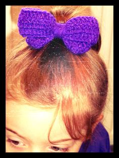 Large Crochet hair bow / knit bow.  Many colour options. Clip or elastic band finish option. on Etsy, £6.00
