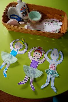Pink and Green Mama: * Ballerina Paper Dolls With Cupcake Wrapper Skirts