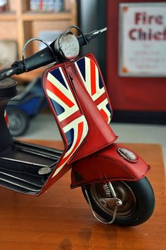 Zakka Vintage Vespa Scooter Model Red with Union Jack by WensNg, $55.00