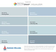 I found these colors with ColorSnap® Visualizer for iPhone by Sherwin-Williams: Pussywillow (SW Agreeable Gray (SW Sea Salt (SW Marshmallow (SW Rain (SW Indigo Batik (SW Jubilee (SW Meditative (SW Matching Paint Colors, Blue Paint Colors, Exterior Paint Colors, Paint Colors For Living Room, Exterior House Colors, Paint Colors For Home, Room Paint, Bedroom Colors, Gray Bedroom