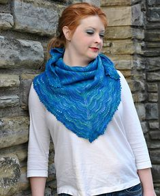 Holden is a classic top-down triangular shawl. Inspired by the waves breaking along the shore, the shawl features wavy lace and is finished with a lovely picot edge.