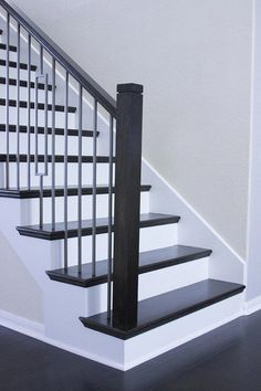 Square Newel Cap – Cheap Stair Parts - Stairs Interior Stair Railing, Modern Stair Railing, Stair Railing Design, Iron Stair Railing, Staircase Railings, Banisters, Black Staircase, Spiral Staircases, Staircase Design Modern