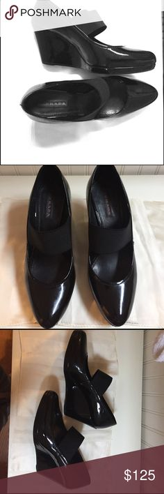 Black Prada Mary Jane Wedge Elegant and sporty! In good Condition. Couple of minor scuffs on one shoe.  💯 Authentic. You can buy these on Tradesy for 173.00.  These beautiful Prada shoes retailed for $460.00.  This sale is a super bargain. I welcome reasonable bundle offers, so please be my guest and browse my closet. 😋 Prada Shoes Wedges