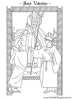 Saint Valentine Catholic coloring page for children II.  Feast day is February 14th.