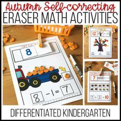 Fall Mini Eraser Self-correction Math Activities