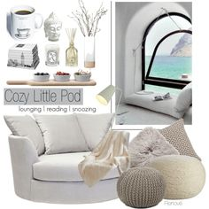 Cozy little pod by rere-renove on Polyvore featuring interior, interiors, interior design, home, home decor, interior decorating, CB2, Chandra Rugs, Crate and Barrel and Madison Park