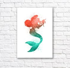 Little Mermaid Watercolor Wall Art Poster - Christmas Gift Idea