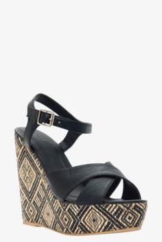 Black Aztec Wedge (Wide Width)