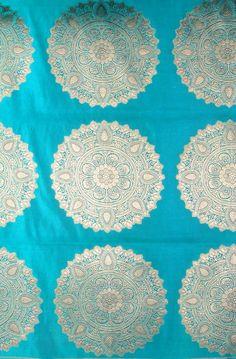 Green Banarasi Brocade Fabric with Woven Chakras in Golden Thread