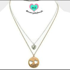 """A mother's love is forever"" Heart Necklace Set Beautiful gold and silver 2 piece necklace and pendant set perfect for a Mother's Day gift.  Silver Necklace Size: 16"" + 3"" L (Pendant Size: 0.3"" X 0.5"")  Gold Necklace Size: 18"" + 3"" L (Pendant Size: 1"" X 1"")  Please let me know if you have any questions. Happy Poshing!!! Farah Jewelry Jewelry Necklaces"