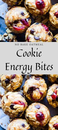 No Bake Oatmeal Cookie Energy Bites (Gluten Free) Gluten Free Snacks, Gluten Free Baking, Vegan Baking, Clean Recipes, Snack Recipes, Dessert Recipes, Cooking Recipes, Desserts, Protein Bites