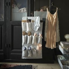 IKEA - STUK, Hanging shoe organiser w 16 pockets, white/grey, There's plenty of room for both shoes and small things in the 16 pockets. Hanger is included. Childrens Storage Boxes, Kids Storage, Dining Room Sets, Hanging Clothes Organizer, Moving House Checklist, Shoe Organiser, Hanging Shoes, Moving Supplies, Zara Home