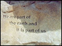 White Wolf: Native American Quotes about Mother Earth: We are  part of the earth and it is part of us.