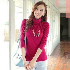 Find More Blouses & Shirts Information about New Spring Slim Sweater Causal Solid Plain Turtleneck High Collar Basic Knitted Sweaters Women Pullover Tops B26 SV009082,High Quality pullover sweaters for kids,China pullover sweatshirt Suppliers, Cheap pullover bib from A-City-Life on Aliexpress.com