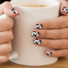 Shop Cow Print Animal Spots Pattern Black White Western Minx Nail Art created by FancyCelebration. Minx Nails, White Nail Designs, Nail Art Designs, White Nails, Red Nails, Black Nail, Western Nails, Country Nails, Red Nail Polish