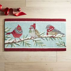 Bird Trio Rug Blue