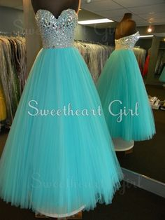 Amazing tulle rhinestones sweetheart neckline blue prom dress  #prom #dress #evening #cute #women
