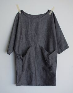 linen tunic, boat neck, big pockets