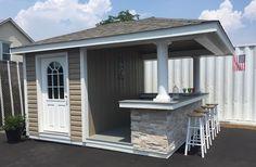 Backyard Kitchen, Backyard Bar, Backyard Sheds, Outdoor Sheds, Outdoor Spaces, Outdoor Decor, Outdoor Living, Pool House Shed, Pool House Plans