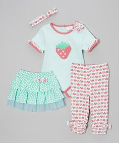 Love this Red & Aqua Strawberry Bodysuit Set - Infant by kathy ireland on #zulily! #zulilyfinds