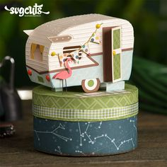 Cute Vintage Camper Trailer Gift Box from the Camp Firefly SVG Kit #svgcuts #favorbox