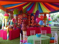 Make your kid's party more sweet and colorful on this inspiration Balloon Decorations Party, Birthday Decorations, Room Decorations, Carnival Birthday, Birthday Parties, Carnival Parties, Birthday Celebrations, Candy Land Theme, Hansel Y Gretel