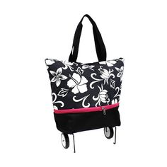 Pink Black Floral Carry On Luggage W Wheels Shopping Bag Tote Bag Expandable
