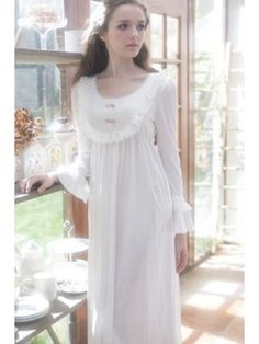 Vintage White Cotton Long Nightgown