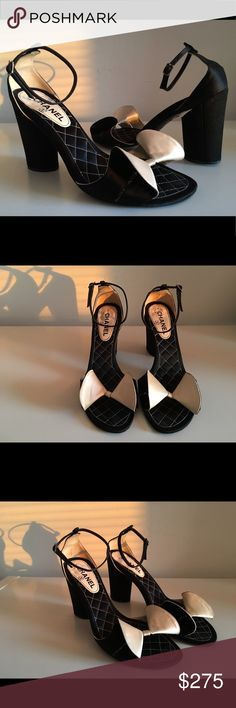 "CHANEL BLACK/CREAM SATIN ANKLE STRAP SANDALS CHANEL BLACK/CREAM SATIN ANKLE STRAP SANDALS SIZE 40.5 BLOCK HEEL 4"" OPEN-TOE MADE IN ITALY GENTLY USED IN EXCELLENT CONDITION CHANEL Shoes Sandals"