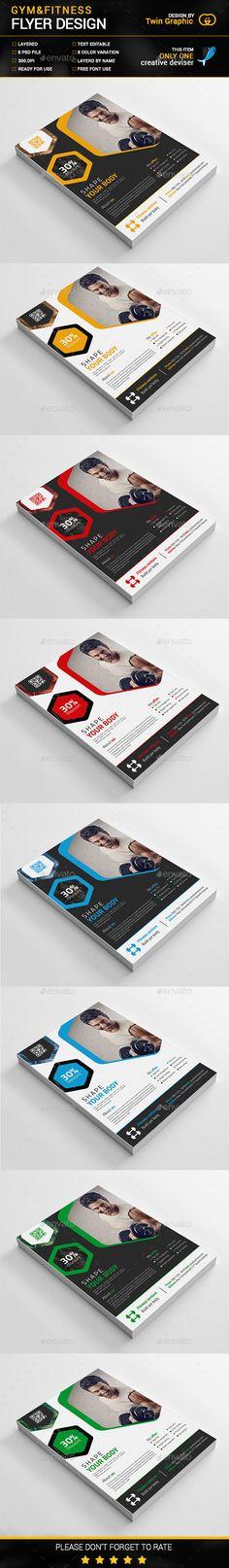 Gym&Fitness Flyer Design Template PSD. Download here: http://graphicriver.net/item/gymfitness-flyer-design/15432995?ref=ksioks