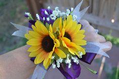 My Day Bouquet - Pretty Purple Sunflower Wrist Corsage!