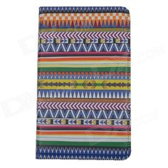 Tribal Lines Rotating Leather Case for Samsung T210 Galaxy Tab 7.0 3 P3200 - Deep Blue   White Price: $10.23