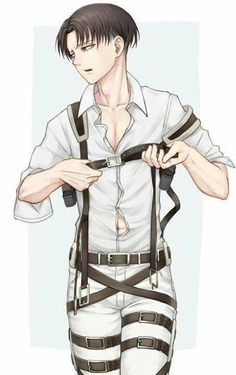Attack on Titan - Levi Ackerman - Shingeki no Kyojin Levi Ackerman, Levi X Eren, Armin, Levihan, Ereri, Hot Anime Boy, Cute Anime Guys, Anime Boys, Otaku