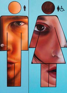 "Man and woman... Artist : Pichi &Avo-WC -""Valencia, Spain"""