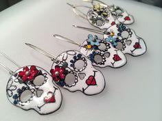Enameled Sugar Skull Earrings with flower by KirstenDenbowDesigns
