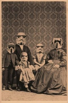 Stormtrooper family surreal vintage victorian style photo taken at a booth on blackpool pier no doubt.funny tshirt picture for the star wars and scifi lover Star Wars Film, Star Trek, Bd Pop Art, Family Portraits, Family Photos, Anakin Vader, Darth Vader, Darkside, The Dark Side