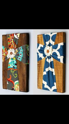 Wood with fabric crosses.