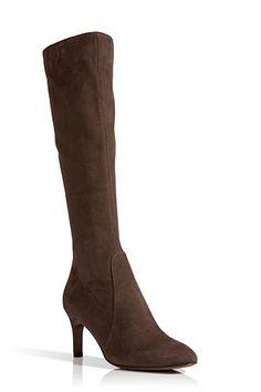 L'AUTRE CHOSE Suede Mid Heel Boots in Dark Camel Brown